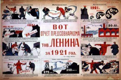Présentation de la Nouvelle Politique Economique de Lénine, Affiche d'époque